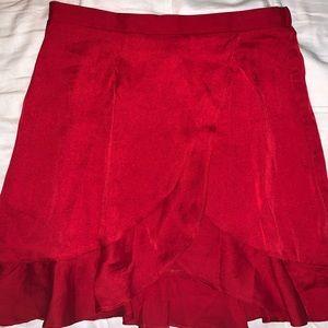 FP red satin skirt